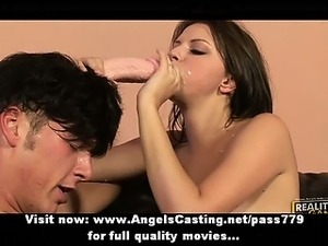 Gorgeous brunette babe getting pussy bangged and licked