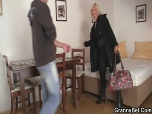 Blonde old women pleases an young guy free