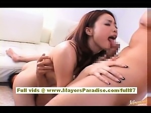 Risa Kasumi asian babe does blowjob and gets licked