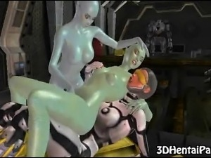 Two toon alien babes get their tight pussies fucked by a shemale in a space suit