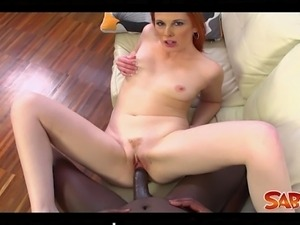 Mischel Russo sucks on his cock and jerks him until she begs for his cock...