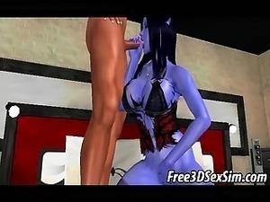 Foxy 3D cartoon demon babe sucking on a hard cock