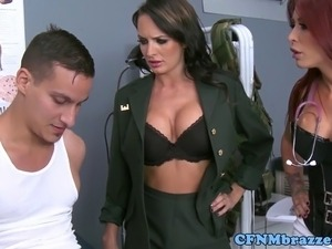 Militar CFNM ladies teaching discipline as they suck gu