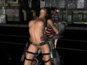 Hot 3D cartoon brunette babe getting fucked by a zombie