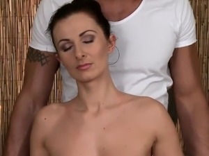 Erotic massage beauty receives a creampie