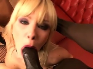 Blonde Italian babe sucks big black cock
