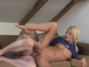Blonde beauty Mina getting pounded by an old man