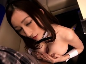 Asian Julia pov tittyfucked in bunnymaid costume