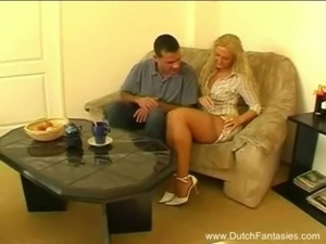 Horny Dutch Blonde Couch Bang free