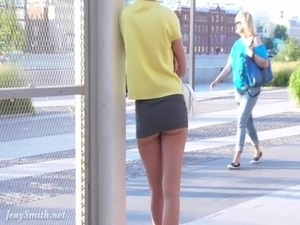 Jeny Smith no panties upskirt public flash free