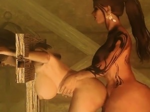 Blindfolded 3d hentai babe fucked by shemale