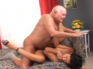 Awesome honey Tera Joy shaggs the Grandpa And Lets Him Eat A Creampie