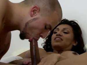 Busty latina shemale assfucks before cumshot