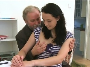 Old teacher\'s shaft acquires a licking from naughty playgirl