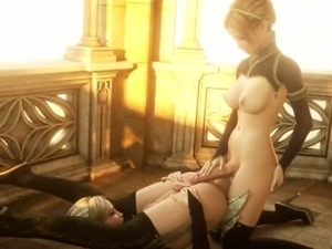 Two beautiful blonde 3d shemales fucking each other