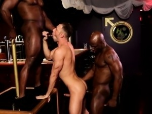 Interracial anal threeway with ripped ebonys