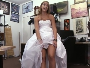 Shamless Blonde Bride Sucking Dick In Pawn Shop Office