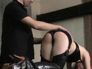 Kinky leather slave Fae Corbin