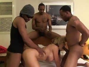 Goddess honey Nikki Sexx has Gangbanged inside mixed race Foursome