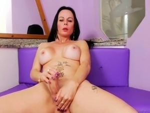 Bubble butted latino shemale Paula D Avila in solo session