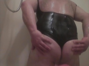 Getting wet in the shower with my black leotard on