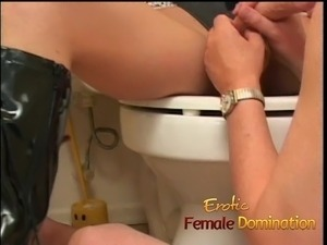 Busty milf dominatrix humiliates her slave with some hardcor