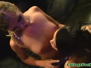 European coeds toying pussy and sucking cock