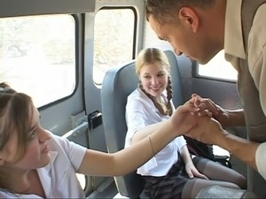 Schoolgirl in action on the bus