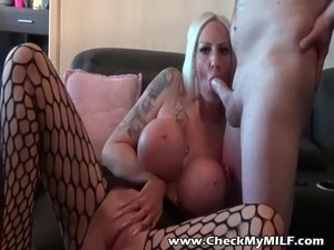 Check My Tattooed MILF Huge tits in crotchless stockings