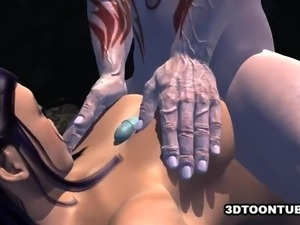 Busty 3D Hottie Fucked by a Monster