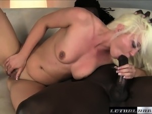 Slutty blonde with lovely tits has a juicy peach ready for black meat