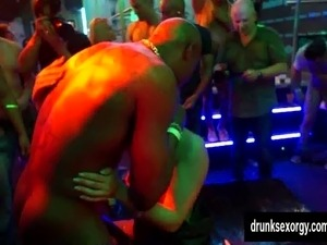Bi pornstars fuck in the club
