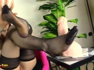 Hot redhead footjob in stockings, with Irina Vega