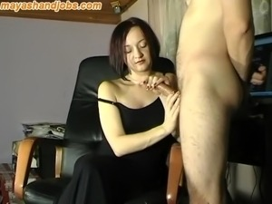 huge cumshot on Maya black dress