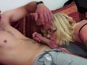 Blonde mature gets banged in fishnet dress
