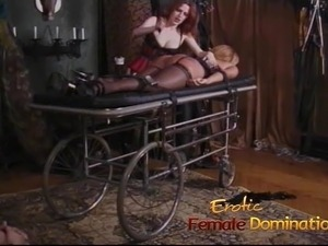 Raunchy lesbian sluts have some kinky fun in the dungeon