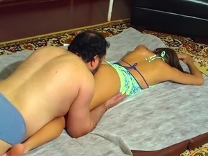 Colombian Escort Gets Fucked By Bearded fat guy