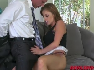 Brunette bombshell Britney riding a cock