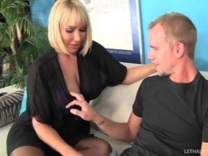 Blonde MILF Mellanie Monroe fucks step sons huge cock