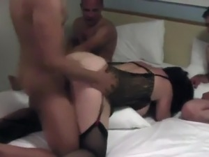 BBW anal gangbang - they take turns filling her up