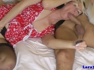 Glamour british milf eats babes pussy before they share cock