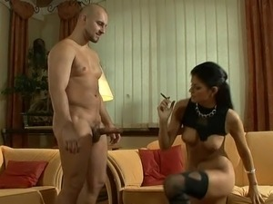 whore gets dick in all holes while smoking a tipped cigar