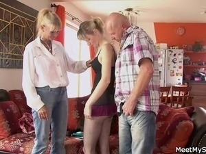 Perverted parents seduces their son's girl