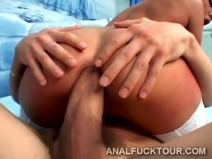 Blondie goes crazy with a huge dick in her ass