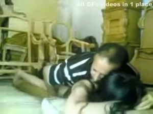 Long haired happy brunette from Indian gets fucked from behind on floor