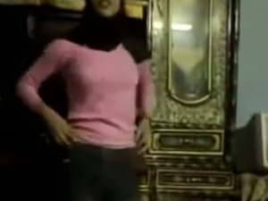 Pretty Arab girl dances in front of a camera in homemade video