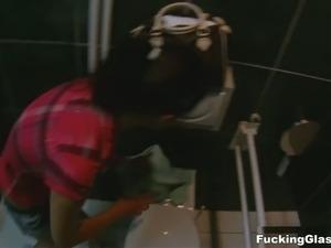 Kinky dude wearing spy cam glasses fucks nasty girlfriend in a public toilet
