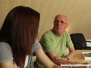 Slender brunette girlie with sweet titties lures old man to get twat teased