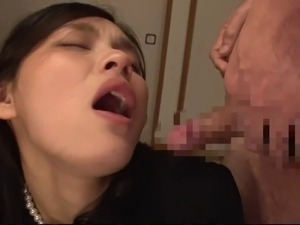 Stunning dame draws cum from old men's cocks in a steamy group sex