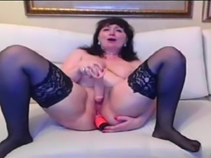 Russian mature masturbating on cam